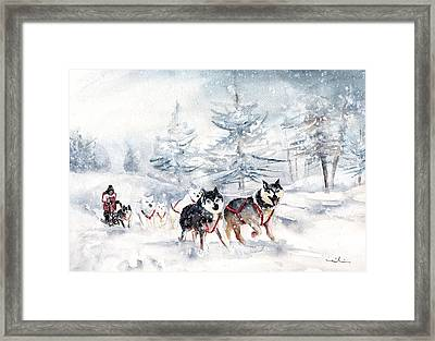 Huskies Sledge Framed Print by Miki De Goodaboom