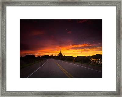 Hwy 20 Sunset Framed Print by Cale Best