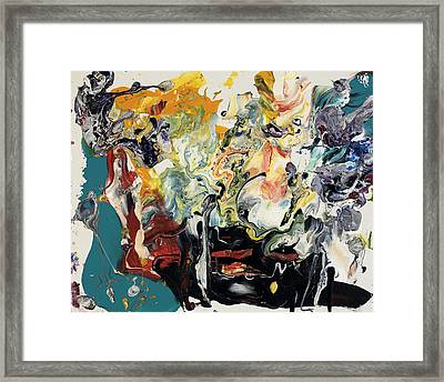 Bright Colorful Oil And Water Flowing Abstract Art Paintings And Prints Framed Print by Michel Keck