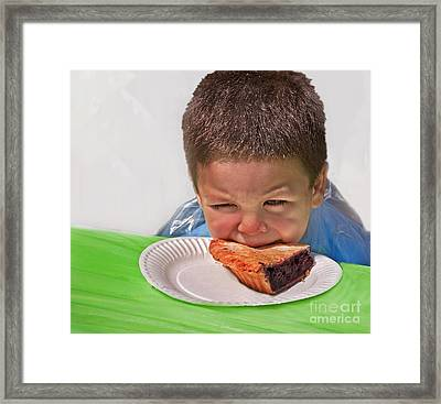 I Don't Want To - Pie Eating Contest Art Prints Framed Print by Valerie Garner