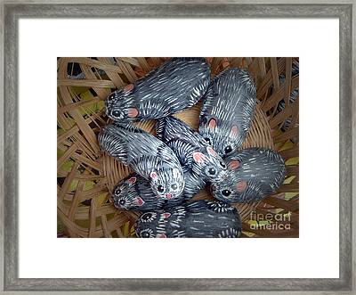 I Found A Basket Of Mice Framed Print by Barbara Griffin