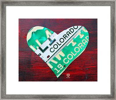 I Heart Colorado License Plate Art Framed Print by Design Turnpike