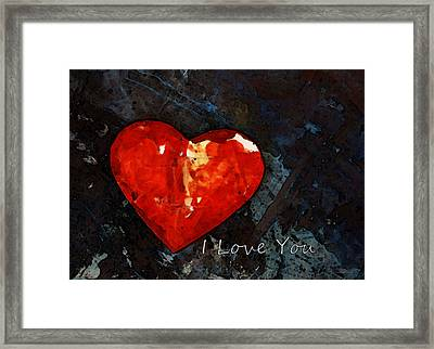 I Just Love You - Red Heart Romantic Art Framed Print by Sharon Cummings