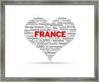 I Love France Framed Print by Aged Pixel