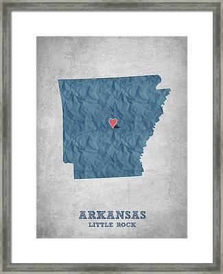 I Love Little Rock Arkansas - Blue Framed Print by Aged Pixel