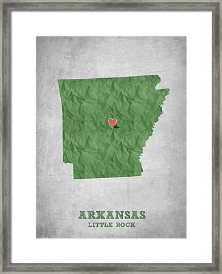 I Love Little Rock Arkansas - Green Framed Print by Aged Pixel