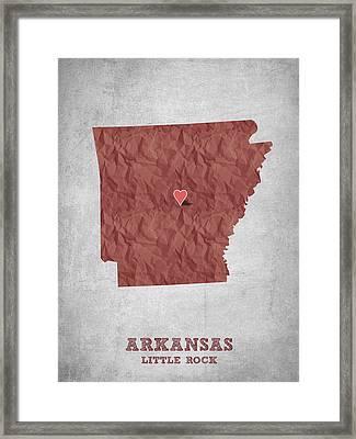 I Love Little Rock Arkansas - Red Framed Print by Aged Pixel