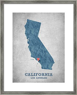 I Love Los Angeles California - Blue Framed Print by Aged Pixel