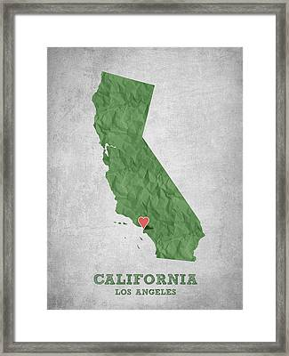 I Love Los Angeles California - Green Framed Print by Aged Pixel