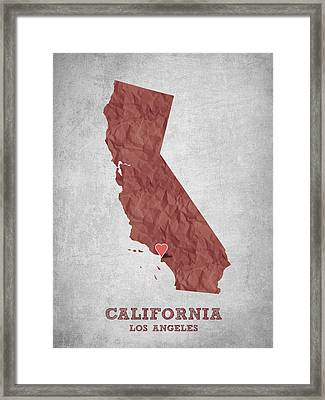 I Love Los Angeles California - Red Framed Print by Aged Pixel