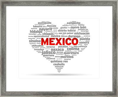 I Love Mexico Framed Print by Aged Pixel