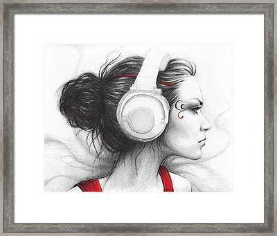 I Love Music Framed Print by Olga Shvartsur