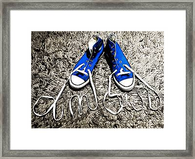 I Love My Blue Suede Tennis Shoes Framed Print by Georgina Noronha