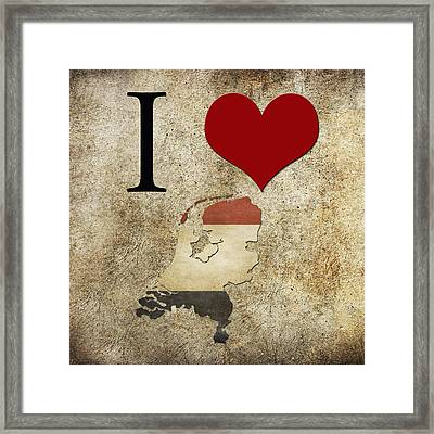 I Love Netherlands Framed Print by Gina Dsgn
