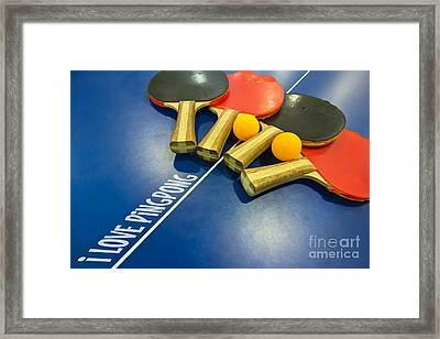 I Love Ping-pong Bats Table Tennis Paddles Rackets On Blue Framed Print by Beverly Claire Kaiya