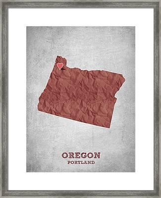 I Love Portland Oregon- Red Framed Print by Aged Pixel