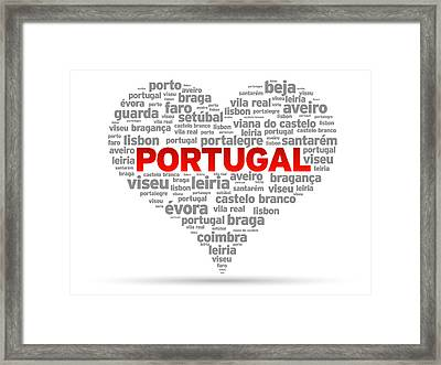 I Love Portugal Framed Print by Aged Pixel