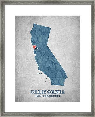 I Love San Francisco California - Blue Framed Print by Aged Pixel