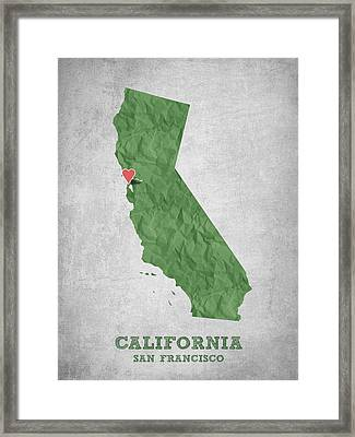 I Love San Francisco California - Green Framed Print by Aged Pixel