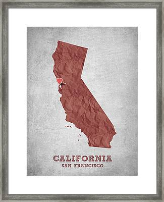 I Love San Francisco California - Red Framed Print by Aged Pixel