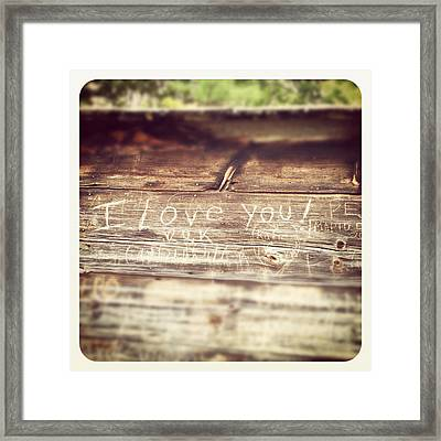 I Love You Carved In Wood Framed Print by Brooke T Ryan