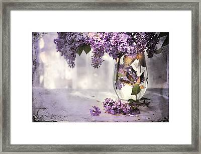 I Picked A Bouquet Of Lilacs Today Framed Print by Theresa Tahara