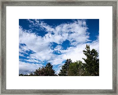 I See A White Cloud Looking At Me Framed Print by Omaste Witkowski