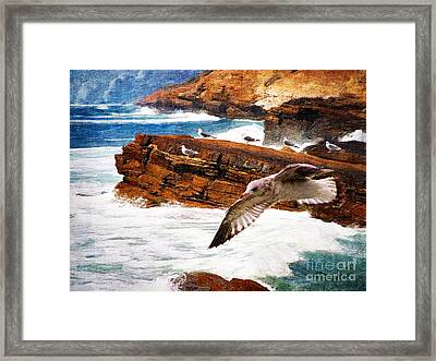 I Stand Amid The Breakers Framed Print by Lianne Schneider