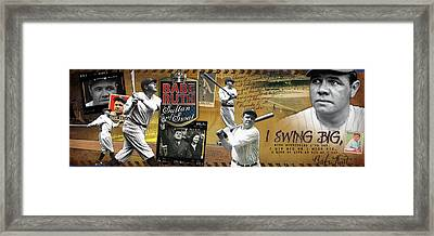 I Swing Big Babe Ruth Framed Print by Retro Images Archive