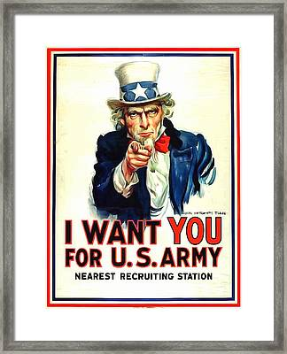 I Want You For U S Army Framed Print by US Army WW I Recruiting Poster