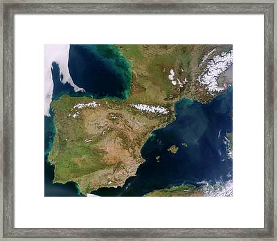Iberian Peninsula Framed Print by Jeff Schmaltz, Lance/eosdis Modis Rapid Response Team At Nasa Gsfc