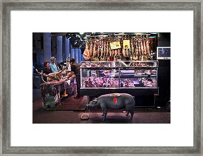Iberico Ham Shop In La Boqueria Market In Barcelona Framed Print by David Smith