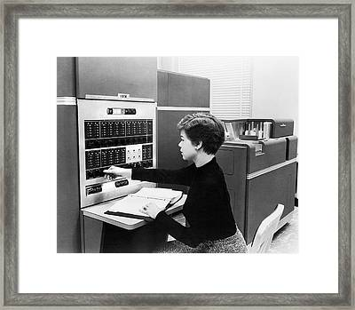 Ibm Main Frame 650 Computer Framed Print by Underwood Archives