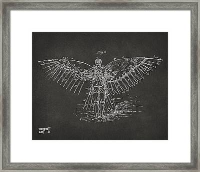 Icarus Flying Machine Patent Artwork Gray Framed Print by Nikki Marie Smith