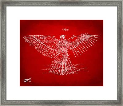 Icarus Human Flight Patent Artwork Red Framed Print by Nikki Marie Smith