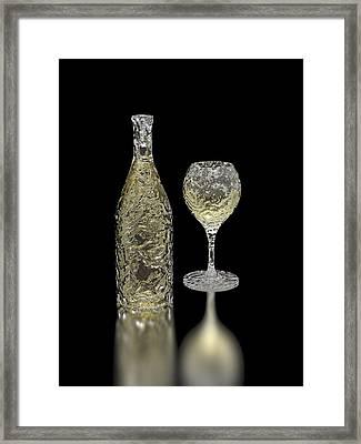 Ice Bottle And Glass Framed Print by Hakon Soreide