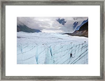 Ice Climber On A Glacier Framed Print by Jim West