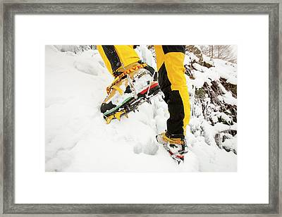Ice Climbers On An Icefall Framed Print by Ashley Cooper