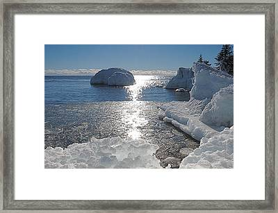 Ice Cold Day On Lake Superior Framed Print by Sandra Updyke