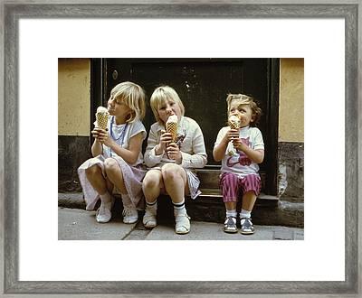 Ice Cream Treat 1980s Framed Print by David Davies