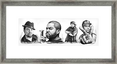 Ice Cube Blackwhite Group Art Drawing Sketch Poster Framed Print by Kim Wang