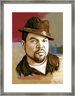 Ice Cube - Stylised Pop Art Drawing Portrait Poster  Framed Print by Kim Wang
