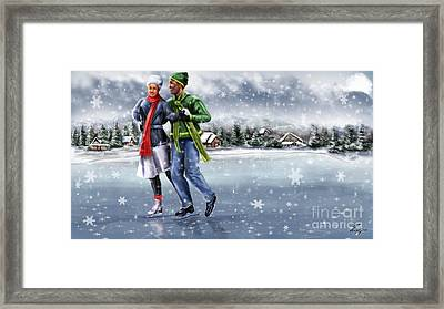 Ice Dancing On The Lake Framed Print by Reggie Duffie