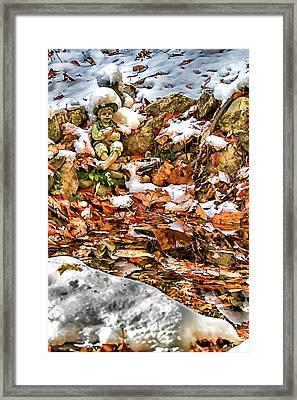 Ice Fishing Leprechaun Framed Print by John Haldane