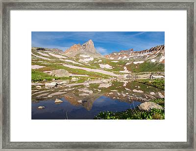 Ice Lakes Reflection Framed Print by Aaron Spong