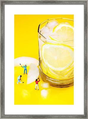 Ice Making For Lemonade Little People On Food Framed Print by Paul Ge