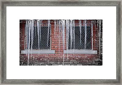 Ice Over Brick Framed Print by Steve Ohlsen