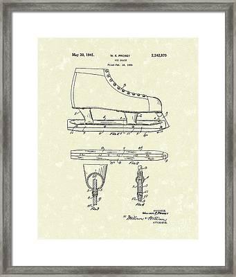 Ice Skate 1941 Patent Art Framed Print by Prior Art Design
