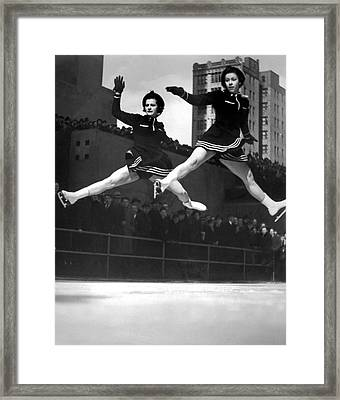 Ice Skaters Perform In Ny Framed Print by Underwood Archives