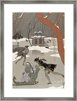 Ice Skating On The Frozen Lake Framed Print by Georges Barbier
